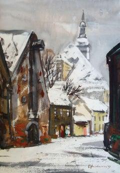 City in winter. 1979. Paper, watercolor, 58x40 cm