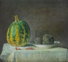 Still life with a black radish  1986, oil on canvas, 50x55 cm