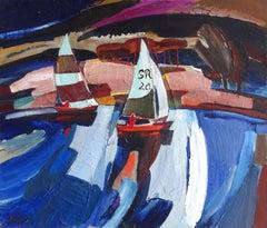 Yachts. 1983, Cardboard, oil, 85x100 cm