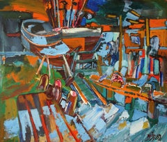 Boat on the waterfront. 1989, Cardboard, oil, 86x100 cm
