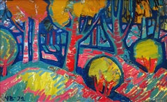Sunset in the forest. 1972., Cardboard, oil, 46x73 cm