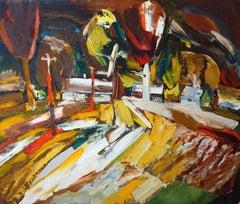 Autumn wind. Cardboard, oil, 85x100 cm