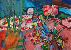 Village road. 2003, oil on canvas and cardboard, 50x70 cm