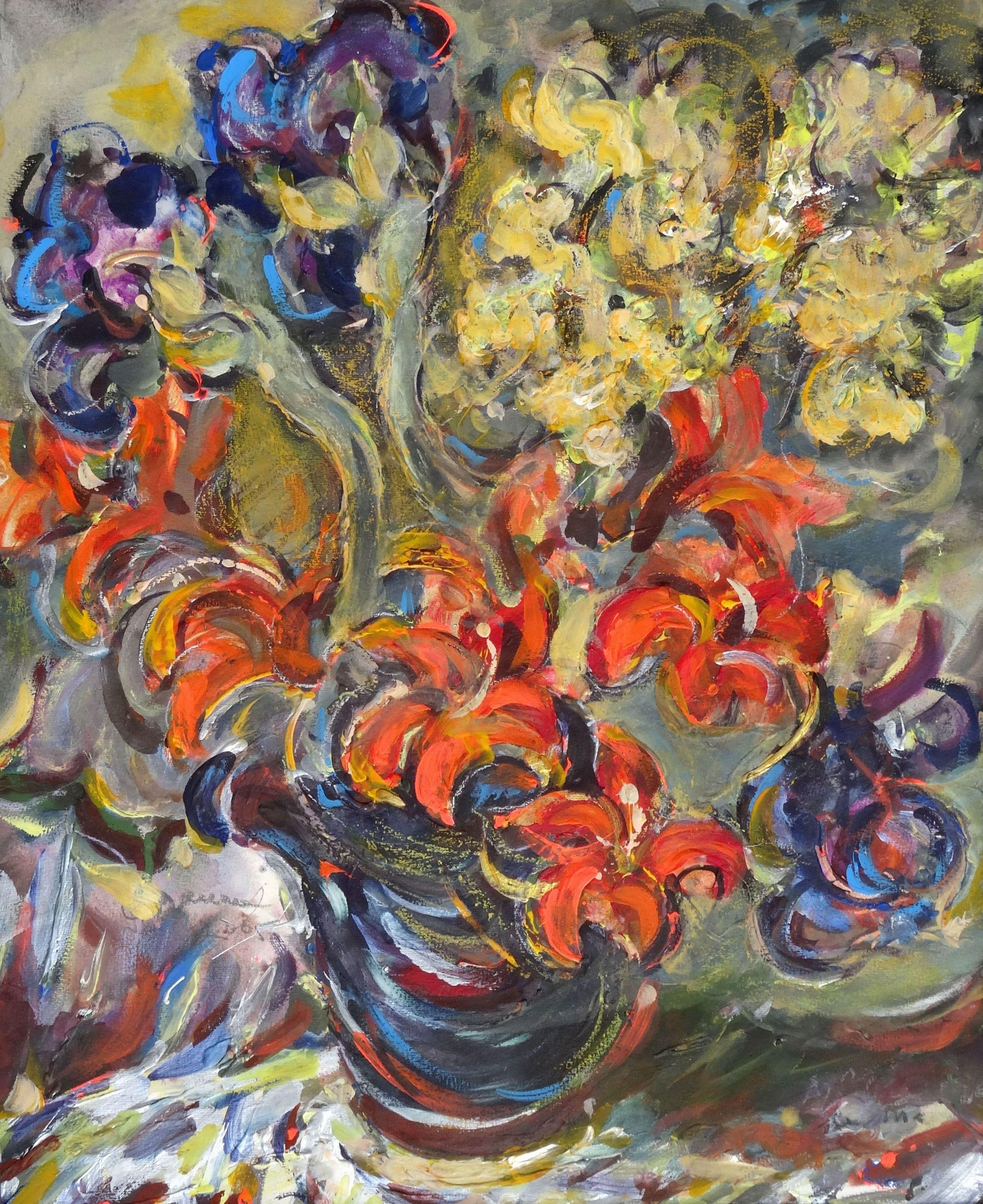 Flowers. Cardboard, mixed media, 60x73 cm