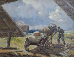 Work in the countryside. Oil on cardboard, 55,5x70,5 cm