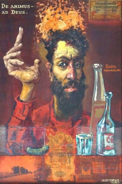 Russian philosophy. 2002, oil on canvas, acrylic, collage, 60x40 cm