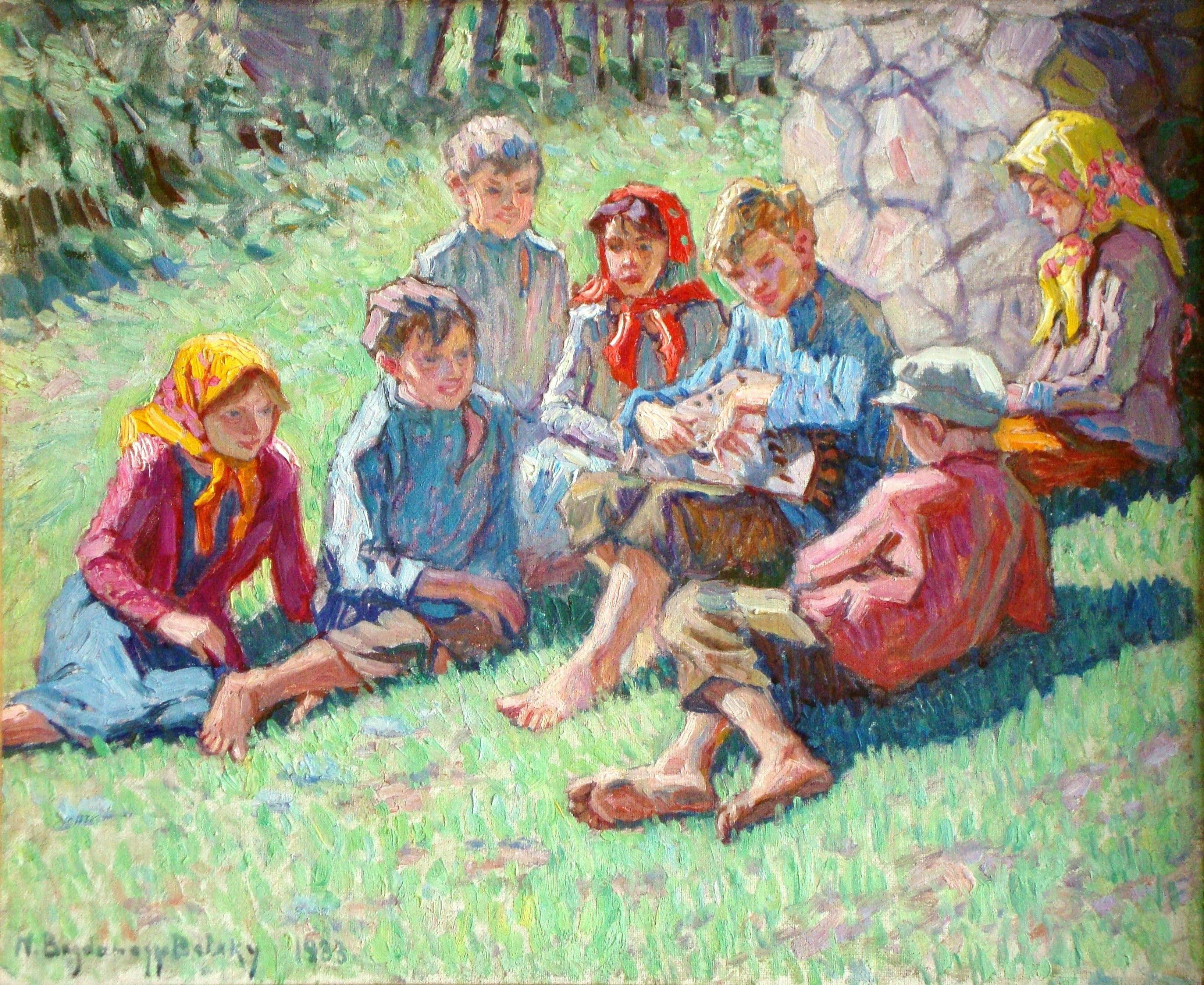 Children's celebration. 1933, cardboard, canvas, oil, 24x30 cm