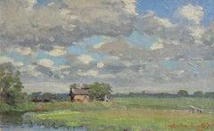 Rural summer landscape. Oil on canvas, 23.5x37 cm