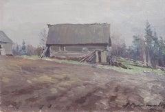 Countryside. 1950s, cardboard, oil, 26x37 cm