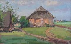 Rural life. 1950s, cardboard, oil, 23.5x36.5 cm