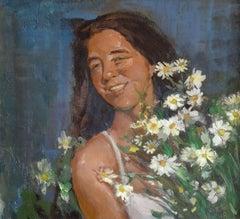 Girl with daisies. 1954, cardboard, oil, 49.5x50 cm
