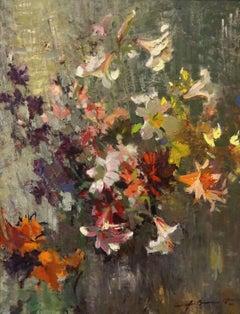 My garden flowers. 1964, oil on cardboard, 100x77 cm