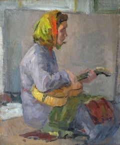 With a guitar. Oil on canvas, 78.5x65 cm