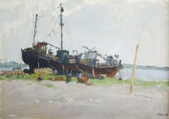 Ship repair. 1956, oil on canvas, cardboard, 43,5x61,5 cm