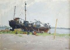 Ship repair. 1956, oil on canvas, cardboard, 43,5x61,5 cm