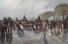 Paris Boulevard. 20th century, canvas, oil, 60x90 cm