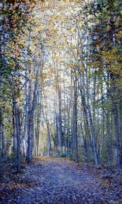 Autumn light. At sunny forest. 2018. Oil and acrylic on canvas, 119x72 cm