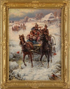 Winter ride with songs. 19 century, oil on canvas, 100x74 cm