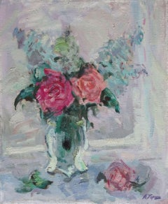 Bouquet on the window. 1995, oil on canvas 46х38 сm