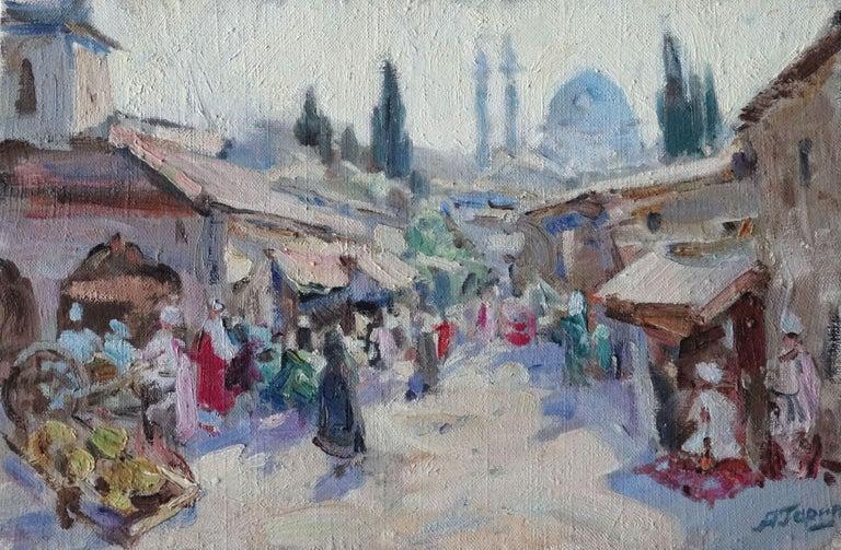 Aleksey Garin Figurative Painting - Bukhara. 1995, oil on canvas, 27х41 сm