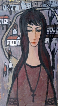 The girl in the city. oil on cardboard, 76.5x41.5 cm
