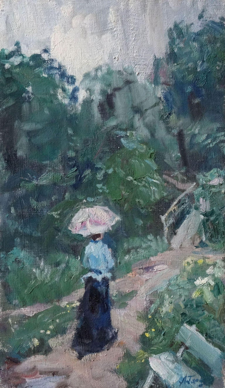 Aleksey Garin Figurative Painting - Summer rain. Oil on canvas, 46x27 cm