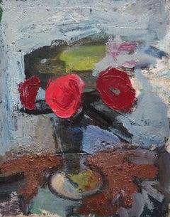 Still life with flowers. Oil on cardboard, 50x40 cm