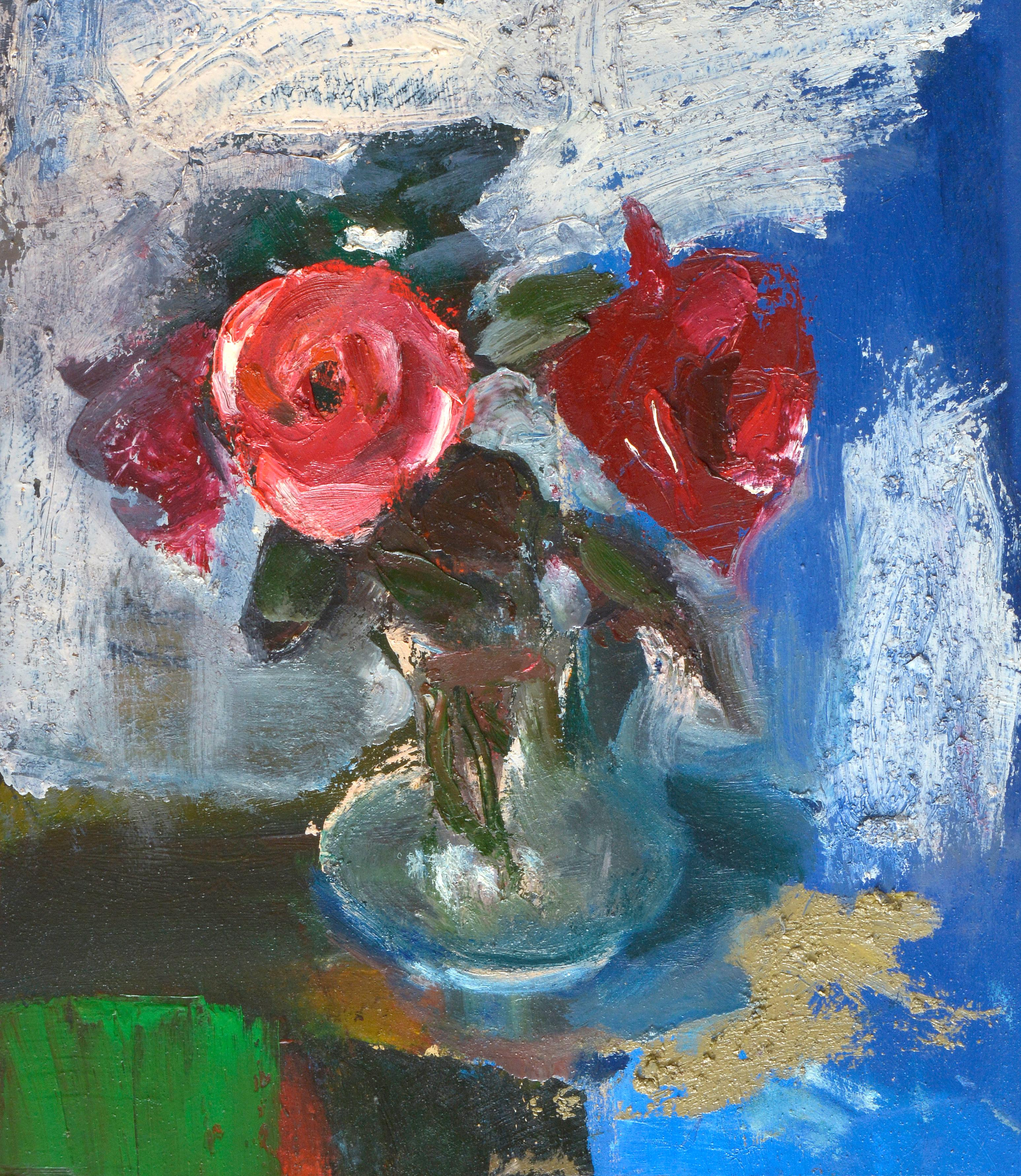 Red roses. Oil on cardboard, 45x40 cm