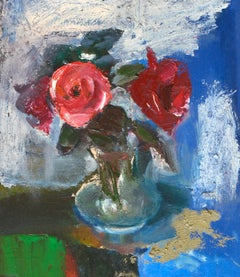 Red roses. Oil on cardboard, 45x40 cm