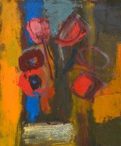 Tulips in vase. Oil on cardboard, 50x40,5 cm