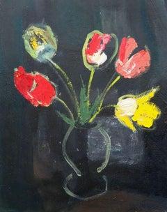 Tulips on the black background. 1975, cardboard, oil, 50x39 cm