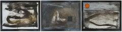 Triptych. Cardboard, mixed media, 49x70cm total size 49x210 cm