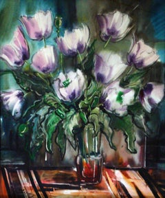 Purple poppies. 1982, watercolor on paper, 80x68 cm