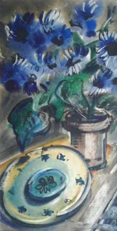 Still life with flowers. 1978. Paper, watercolor, 70x35 cm