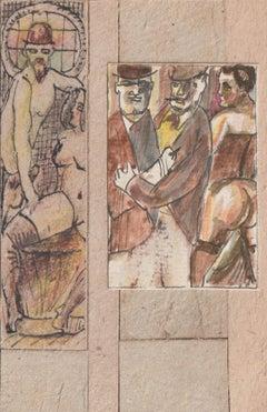 Erotic motives. 2.pcs., paper, cardboard, mixed media, 8,3x5,5 cm, 12,8x3,2 cm