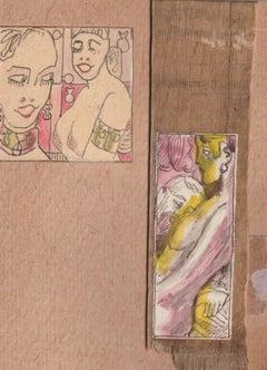 Erotic motives. 2.pcs., paper, cardboard, mixed media, 7,7x3 cm, 5x5 cm
