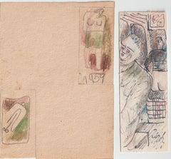 Erotic motives. 3.pcs., paper, mixed media, 12,6x4,3 cm, 6,1x3,2 cm, 6,9x3,2 cm