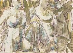 Threesome. Paper, mixed media, 10x14 cm