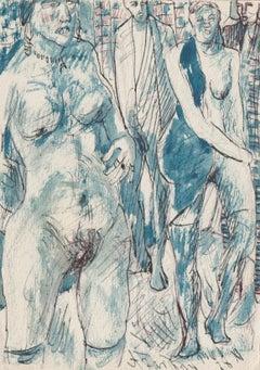 Erotic scene. Paper, mixed media, 14x10 cm