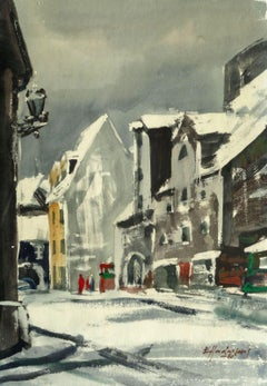 Winter city. 1980. Paper, watercolor, 68x40 cm