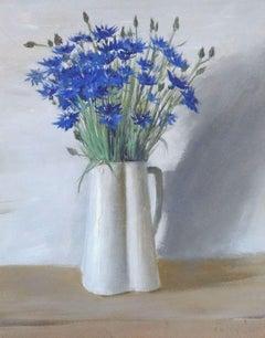Still life with cornflowers. 1974, cardboard, tempera, 49x38.5 cm