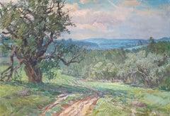 Landscape with oak. Canvas, cardboard, oil, 48x70 cm