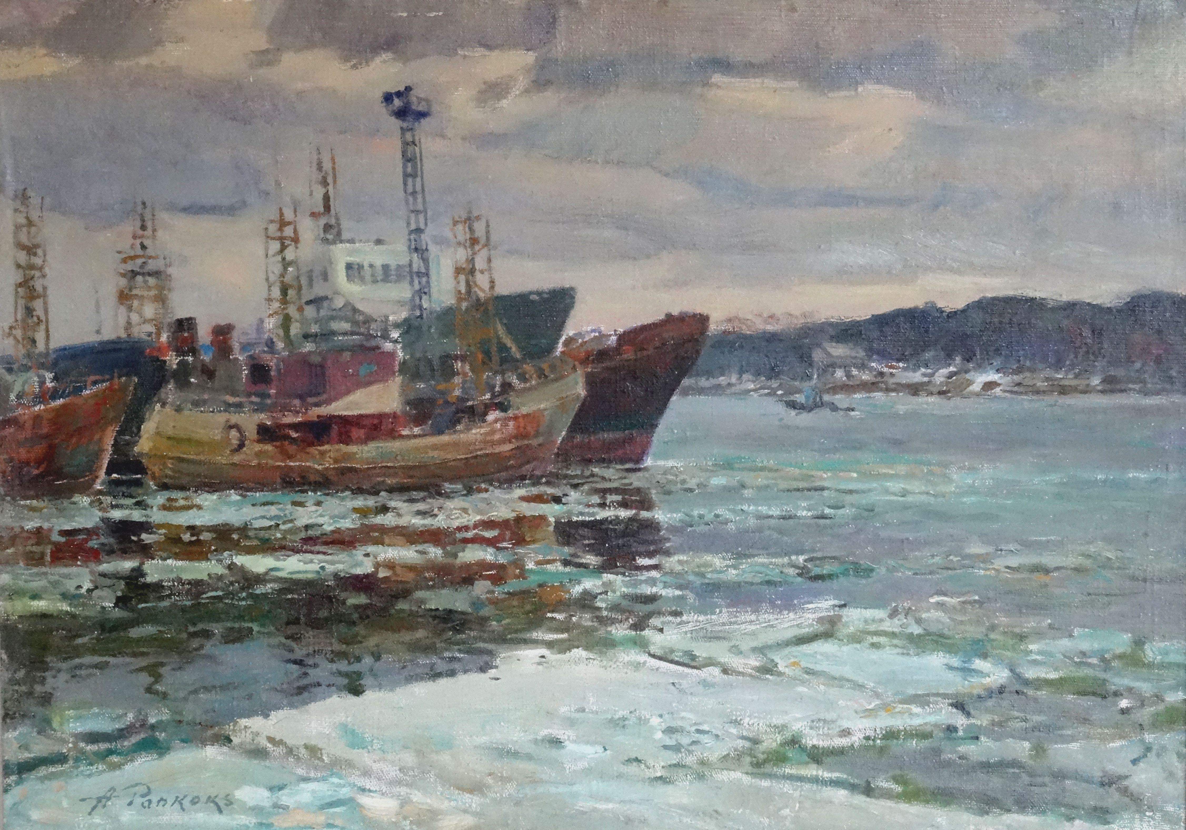 Ships in the port. Oil on cardboard, 51x70,5 cm