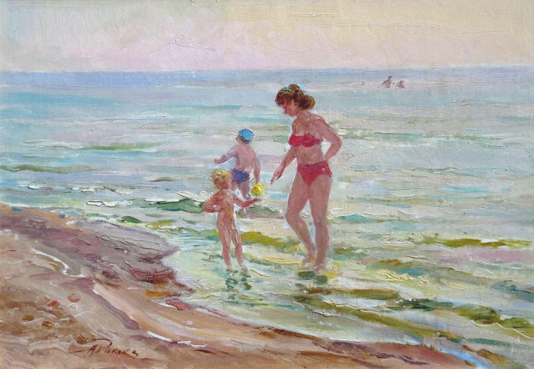 Arnolds Pankoks Landscape Painting - The beach. Oil on canvas and board, 35x50 cm