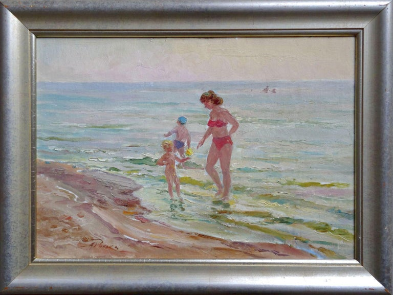 The beach. Oil on canvas and board, 35x50 cm - Gray Landscape Painting by Arnolds Pankoks