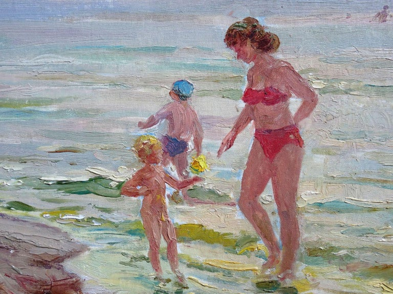 The beach. Oil on canvas and board, 35x50 cm - Impressionist Painting by Arnolds Pankoks