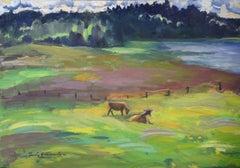 In the field. Oil on cardboard, 57x81 cm