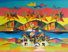Landscape with birds. 1968. Oil on canvas. 100x130 cm