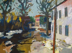 Street view at spring. Oil on cardboard, 97x130 cm