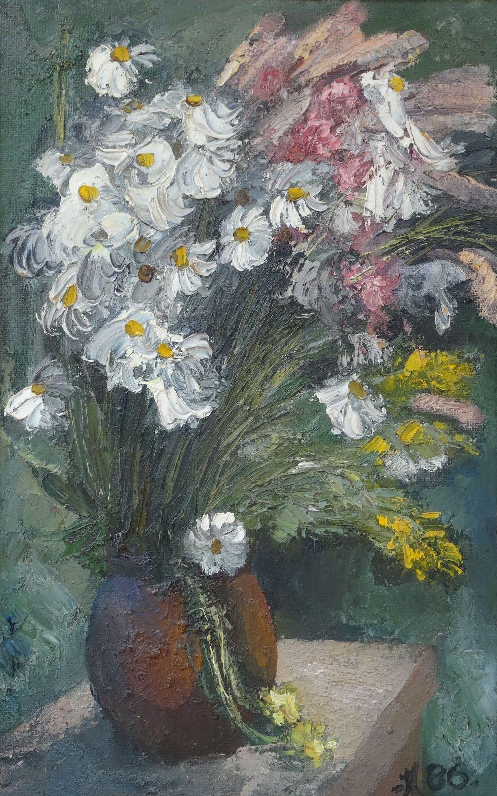 Flowers. 1986. Oil on cardboard, 72x46 cm